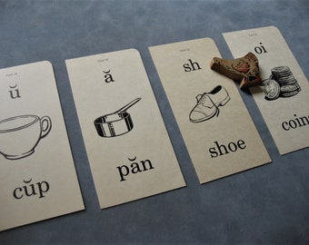 Vintage Picture Flash Cards, 4 Cards, Cup, Pan, Shoe, Coin, Manila Cardstock