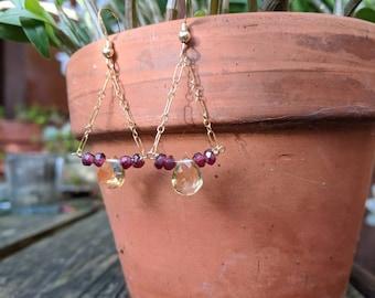 Citrine and garnet earrings. Gold chandelier earrings. Silver chandelier earrings.