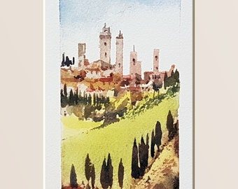 Tuscany, tuscan landscape, home decor, watercolour print