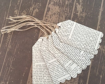 Recycled Upcycled Vintage Book Print Gift Tags Handmade from Bronte Books - Jane Eyre by Charlotte Bronte, Wuthering Heights by Emily Bronte