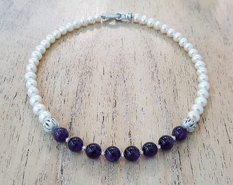 A stunning and unique Pearl & Amethyst  Beaded Necklace