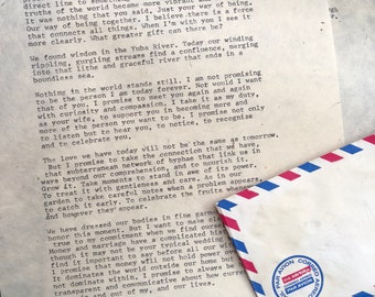 Hand Typed Typewriter Customizable Letter AND airmail envelope-perfect vintage gift/letter/typewriter/antique/package