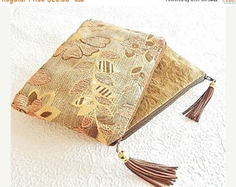 CLEARANCE - Upholstery pouch,brown pouch, red purse, pencil case, cosmetic pouch, linen zipper pouch, printed purse, flat zipper purse,