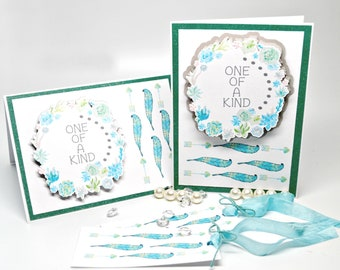Blue Gray and Aqua Watercolor Floral Wreath Cards with Matching Tags, printed ONE OF a KIND blank Luxury Note Cards with matching gift tags