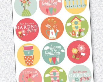 Garden Party PRINTABLE Cupcake Toppers (INSTANT DOWNLOAD) by Love The Day