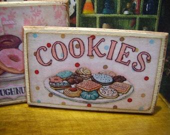 Sweet Cookies Miniature Wooden Plaque 1:12 scale