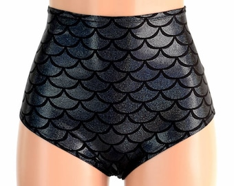 "High Waist ""Siren"" Hot Pants in Black Dragon/Mermaid Scale Holographic Spandex Rave Festival Clubwear Sexy - 154667"