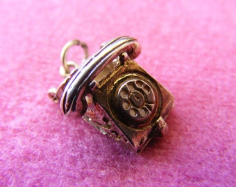 J) Vintage Sterling Silver Charm Telephone opens to A B C