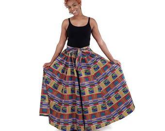 Red/Blue Kente Long Skirt