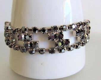 Vintage Smoky Topaz Glass Rhinestone Bracelet