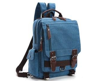 Blue Rugged Canvas Messenger Bag