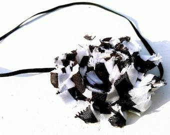 Baby Headband-Black and White Striped Rosette on Black Skinny Elastic