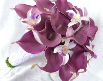 Lavender real touch Calla lily wedding bouquet lavender calla lilies with white and lavender orchid accents