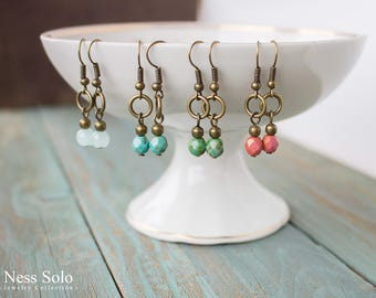 Small earrings Boho earrings Dangle earrings Dainty beaded earrings Green Red Blue earrings Delicate earrings Boho jewelry Bohemian earrings