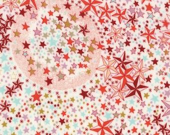 Printed fabric Liberty pattern Liberty ADELAJDA coral colored pink orange