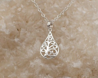 Filigree Teardrop Necklace Sterling Silver Scroll Work Pendant Box Chain