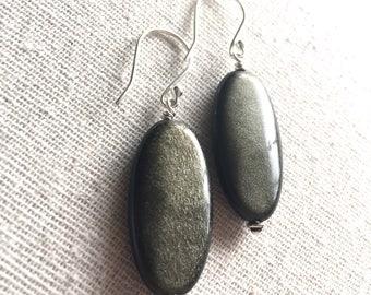 Golden Sheen Obsidian Earrings