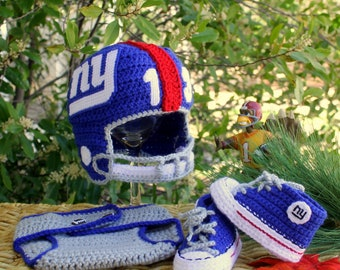 Baby Football Hat and Shoes, New York GIANTS Baby Set, Newborn FOOTBALL Hat (Handmade by me and not affiliated with the NFL)