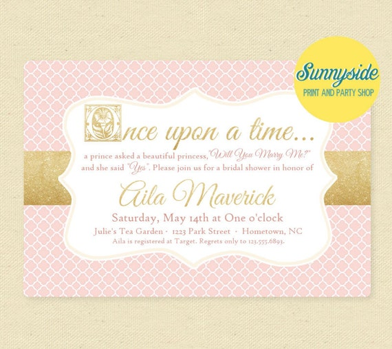 Once Upon a Time Bridal Shower Storybook Invitation Blush
