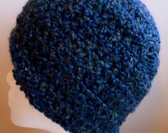 Navy Blue Beanie Crochet Hat  Hand Made Hat