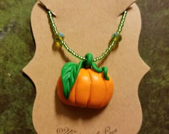 Clay Pumpkin Necklace