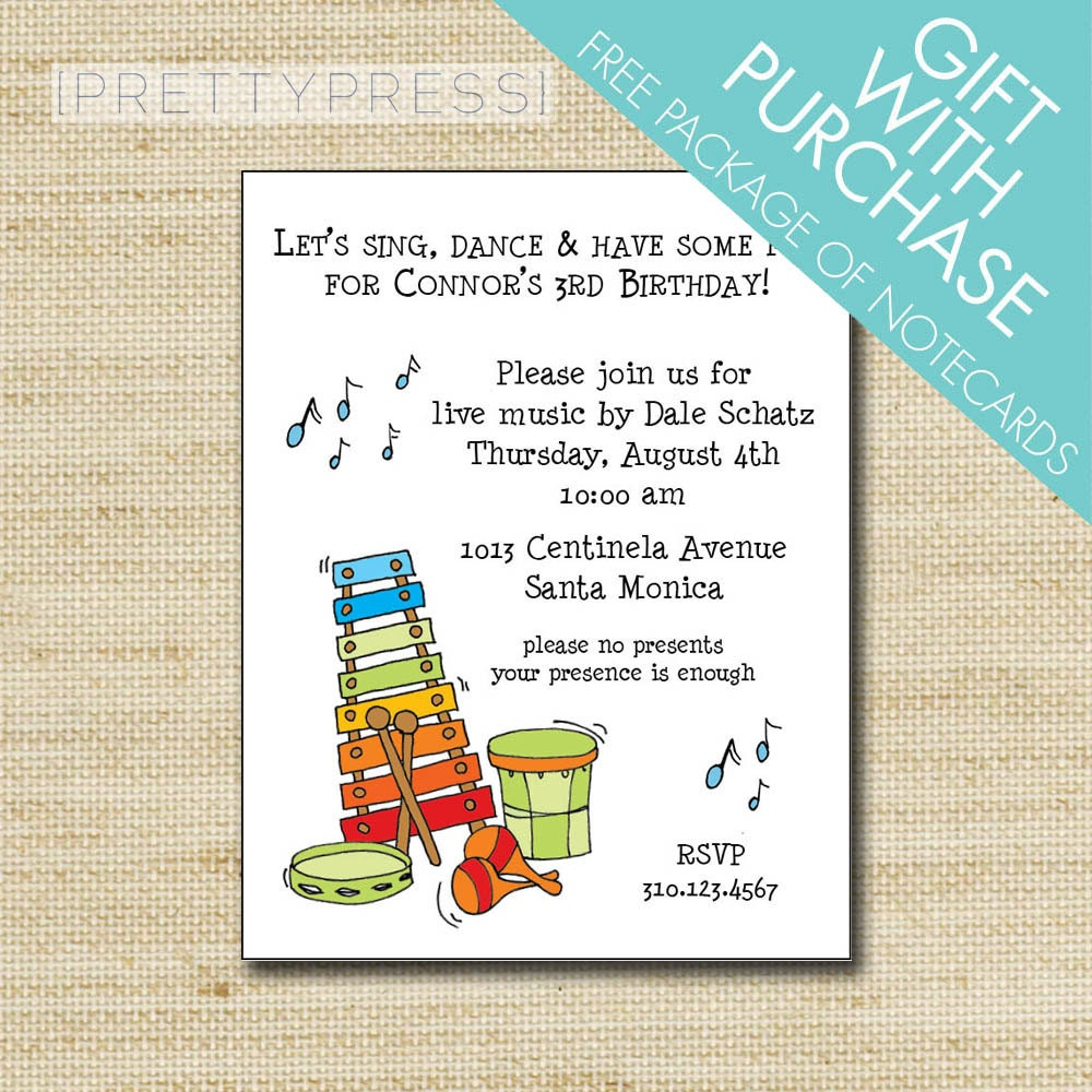 Music Theme Birthday Party Invitation Cards & Envelopes with