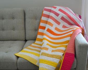Modern Quilt, Geometric Quilt, Stripe Lap Quilt, Pink Stripe Quilt, Ombre Lap Quilt, Wedding Quilt