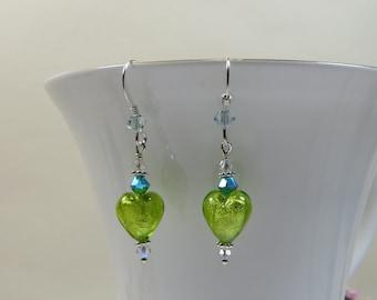 Mini Heart Earrings, Venetian Murano Glass Lime Green Mini Heart Earrings w Swarovski 925 Silver Earrings, Green Hearts w Goldfoil Inside