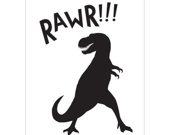 T-Rex Nursery Art, Fabric Peel and Stick Poster, Poster Decal, Kids Decal, Monochromatic Room Decor, Kids Wall Art, Dinosaur Art