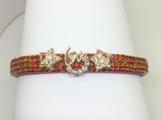 Cutie Pie Pet Collars TM ~Love & Stars~ Red Ruby Aurora Crystal Diamante Rhinestone PU Leather Pet Dog Cat Collar USA
