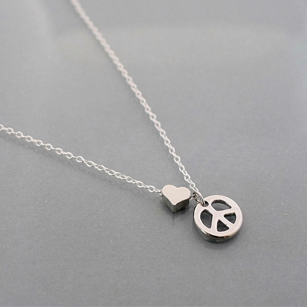 Peace necklace tiny heart necklace small peace sign symbol zoom biocorpaavc