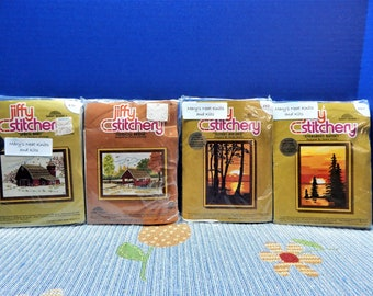 "SpringBarn, MeadowBridge, Sunset Birches, Evergreen Sunset Crewel Embroidery Stitchery Kits Jiffy1970""s 5"" x7""  NIP 1970's Sold Individually"