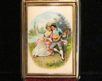 Vintage Celluloid Compact Zell 5th Avenue Powder Compact Rouge Compact Mirror Compact Courting Scene 1930s Unused Excellent Condition