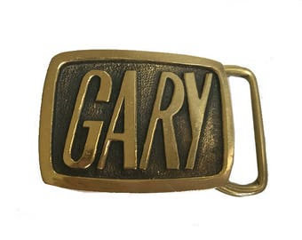 Vintage Gary Name Belt Buckle - Solid Brass - Gifts For Him - Guys - Men - Groomsman Gifts Wedding -  - Fathers Day Gift Idea