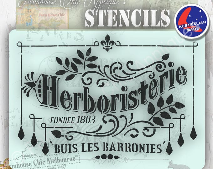 Mylar Furniture Stencil, Paris Herb Stencil, French Vintage Stencil, Artist Stencil, Cake Stencil, Wall Stencil,  #ParisStencil Shabby Chic
