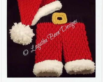Textured Santa set - pants and hat - crochet pattern - newborn size only- PDF58 instant download