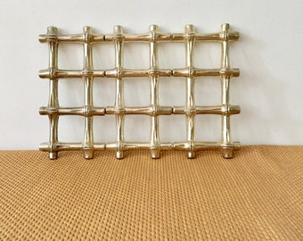 Vintage F.B. Rogers Expandable Silver Plate Trivet, Faux Bamboo Lattice, Made In Italy