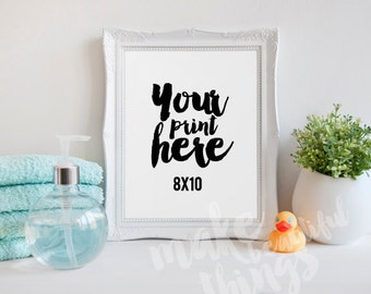 8x10 white frame / Styled stock photography / Instant download / vertical frame