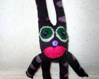 Sock doll - bunny rabbit, recycled, upcycled, softie, purple, floral sock monkey