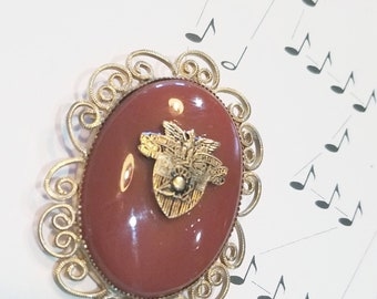 Vintage Gold Cabochon Brooch with USMA West Point Crest • Duty Honor Country • Grad •