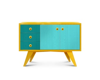 Sideboard Summer. Midcentury credenza. Colorful cabinet. Bright buffet. Midcentury modern furniture.