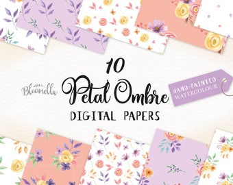 Flower Patterns Petal Ombre Digital Papers - Hand Painted INSTANT DOWNLOAD Wedding Purple Seamless Scrapbook Peach PNG Coral Leaves Leaf
