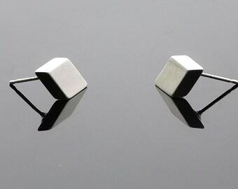 Silver Square Earrings, Rectangle Earrings, Geometric Stud Earrings, Ladies Earrings, Simple Stud Earrings, Everyday Earrings, Tiny Earrings