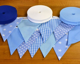 Pale blue double sided fabric bunting, 10, 15 or 20 flags.