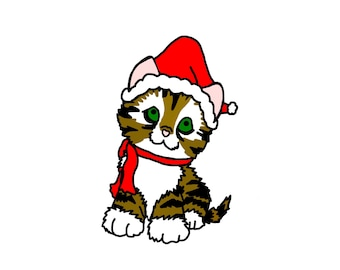 Christmas Kitten Clip Art