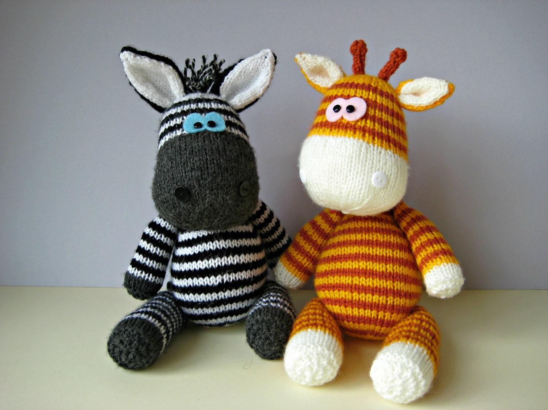 Gerry Giraffe and Ziggy Zebra toy knitting patterns