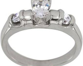 Diamond Engagement Ring 3/4 Carat Oval Center 14K White Gold Side Diamonds