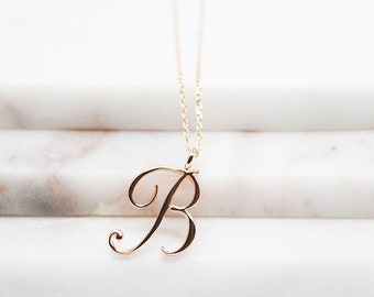 Rose Gold Initial Necklace Classic Letter Necklace Initial Charm Necklace Gifts for Friends