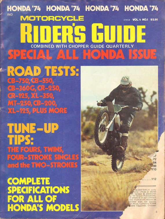 1974 Honda Motorcycle Riders Guide Magazine Back-Issue #mb836