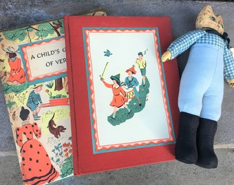 Vintage Poetry Book and Wachlin Folk Art Cat Doll 1944 and 1989